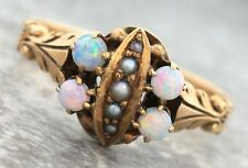 Ladies Antique Victorian 1900s Opal Seed Pearl 14K Yellow Gold Cocktail Ring