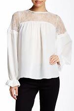 PARKER White Antonia Lace Combo Blouse Top Size S NWT $255
