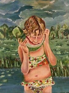 Original Art Joe Correll Acrylic On Canvas Family Watermelon girl  12x18