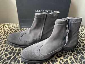 New All Saints Suede Slate Tyrell Boot Size 10