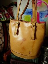 RARE LOUIS VUITTON Vachetta Leather Bucket PM Handbag Purse Tote Accessory LV