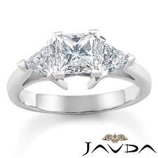 Real Diamond Engagement Trillion Princess Mount Ring 3 Stone Platinum 950 1Ct