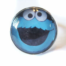 Cookie Monster Glass Bubble Silver Plated Adjustable Ring