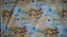 Tropical Dream Vacation Pacific Island Boat Tour Fabric 1/4 yd 22.5 cm off bolt