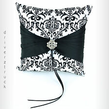 STUDIO HIS & HERS Damask BLACK & WHITE Ring PILLOW Faux CRYSTAL for Wedding Ring