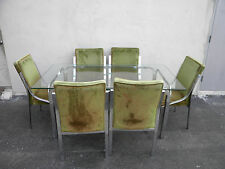 Mid Century Chrome and Glass top Dining Table with 6 Chair 3621