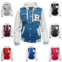 Kids Girls Boys R Varsity Baseball Hooded Drawstring Long Sleeve Coat Jacket Top