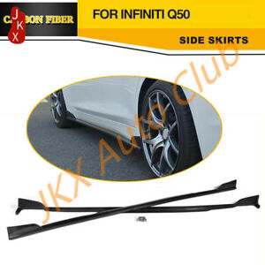 For 14-18 Infiniti Q50 V37 ST Style Side Skirts Spoiler Carbon Fiber k Body Kit