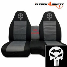 Designcovers Seat Covers 60-40 Hi Back Fit 91-12 Ranger / Blk Charcoal 4X4 Skull