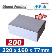 200 Diecut Mailing Box 220x160x77mm - White Cardboard Shipping Carton BC BX1 A5