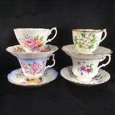 Lot Of 4 Royal Albert China Tea Cups Saucers Floral 4375 White Dogwood Teacup