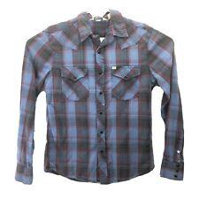 Salt Valley Western Black Snap Long Sleeve Shirt Blue Plaid Men's Sz M Medium