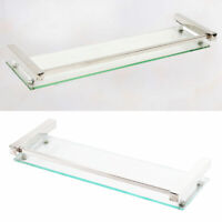 60CM Glass Bathroom Bath Shower Rectangle Shelf Organizer Holder Wall Mounted UK