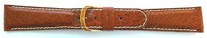 20mm FLEURUS GENUINE BUFFALO - TAN PADDED LEATHER WATCH BAND - CONTRAST STITCH