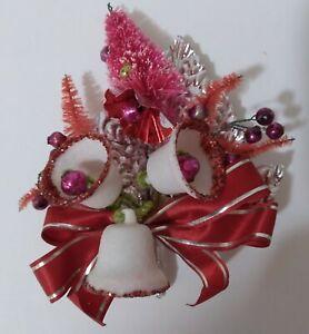 Vintage Christmas Corsage-Red/Pink Bottle Brush Tree-Mica Bells-Silver Foil Leaf