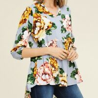 NWT STACCATO STITCH FIX FLORAL 3/4 SLEEVE BLOUSE top M Casual BOHO