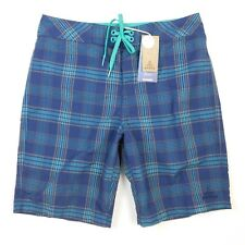 Prana Mens El Porto Plaid Print Blue Teal Board Swim Shorts Size 30