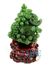 Green Nephrite Jade Flower & Fruit Basket Statue Sculpture Russian Siberian Jade