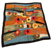 Vintage Watercolor Abstract 100% Silk Scarf Beautiful Rich Color One Of A Kind