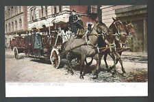 Ca 1902 Ppc* Horse Drawn Fire Truck Hook & Ladder Ny Mint