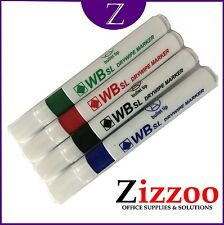 4 X DRYWIPE WHITEBOARD MARKER PENS - BLACK - BLUE - RED & GREEN + FREE P&P!