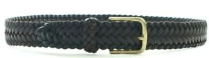 Brooks Brothers Genuine Leather Braided Belt Gold/Silver-Toned Buckle Dark Brown
