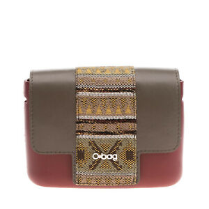 O BAG Rubber Clutch Bag Jacquard Detail Contrast Magnetic Flap Made in Italy