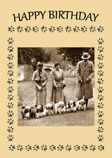 LHASA APSO DOGS AND PEOPLE DOG BIRTHDAY GREETINGS NOTE CARD