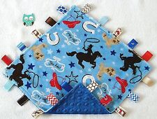 Double Minky Blue Western Cowboy & Blue Minky Taggie Tag Security Blanket Baby