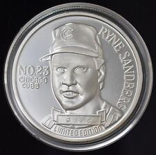 1990 RYNE SANBERG, CHICAGO CUBS 1oz TROY .999 SILVER- Limited Edition #5660
