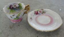 """Vintage Miniature Hand Painted Rose Teacup and Saucer 1 3/8"""" Tall"""