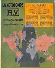 PARIS MOTOPOMPE RV RENE VOLET ILLUSTRATEUR ROGER SOUBIE ENCART PUBLICITE 1928