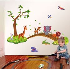 wall stickers jungle zoo monkey tree bridge fun decals decor vinyl baby animal
