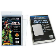 Ultra Pro Golden Size Comic Bags x 100 + White Comic Backing Boards x 100