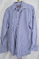 Blue Pronto Uomo Blue White Stripe Medium  Men's Shirt