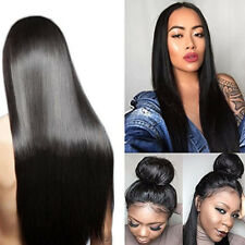Heat Resistant Synthetic Lace Front Wigs Black Color Long Silky Straight Hair