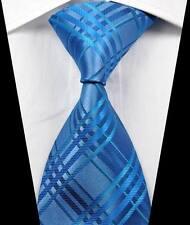 New Classic Checks Light Blue Silver JACQUARD WOVEN 100% Silk Men's Tie Necktie