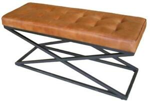 Brown Leather Bench - Metal X Legs Frame - Cushioned Buttoned Seat - 103cm Long