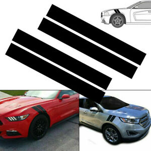 1 Set Black Car SUV Hood Fender Hash Mark Stripe Decal PET Sticker UV Protected