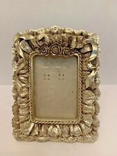 Vintage Gold Lace Ribbon and Roses Picture Photo Frame 4 X 5'' Table Decor W7