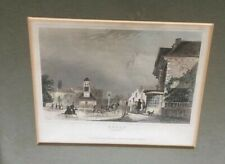 Quality antique engraving of EPSOM, Surrey 1846 hand coloured - framed - Dugdale