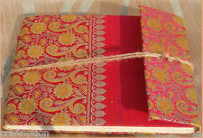 Brocade cover journal diary with embedded flower leaves hand made paper India