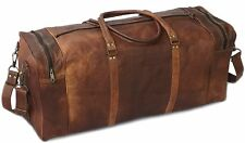 "24"" Real Brown Leather Duffle Bag Sports Gym Bag weekend Travel AirCabin Luggage"