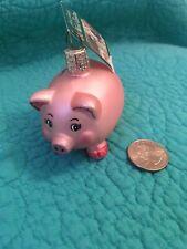 Nwt Vintage Old World Christmas Glass Pink Piggy Bank Ornament