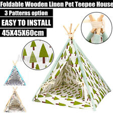 Folding Portable Linen Pet Dog House Washable Tent Puppy Workout Teepee Mat /