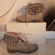 BOXED DESIGNER All Saints STONE SUEDE LEATHER STUD MILITARY WINTER BOOTS SIZE 3