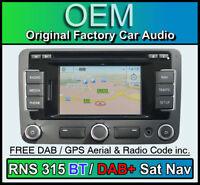 VW RNS 315 Sat Nav stereo DAB+ Bluetooth, VW Jetta Navigation DAB radio CD, Code