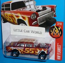 2016 HOT WHEELS '55 Chevy Bel Air Gasser 1955 Red Col. #12/250 HW FLAMES HTF