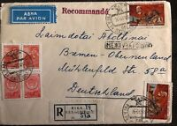 1959 Riga Latvia Russia USSR Airmail Registered Cover To Bremen Germany