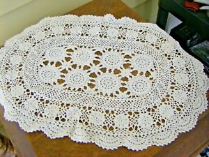 Large Oval Shaped White Table Doily